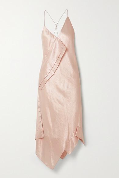 Thumbnail for your product : Roland Mouret Jimboy Asymmetric Silk-blend Lurex Midi Dress - Blush