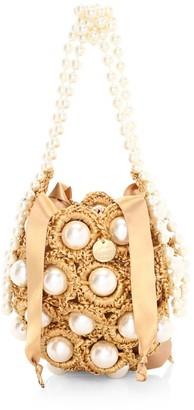 Alameda Turquesa Mini Hana Faux Pearl Woven Top Handle Bag