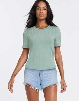 Miss Selfridge short sleeve rib t-shirt in sage