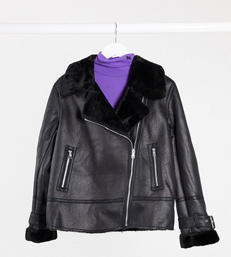 New Look Petite fur trim aviator jacket in black