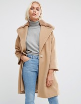 Helene Berman Fur Collar Coat Camel With Teddy Fur