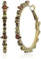 """Sorrelli Green Tapestry"""" Multi-Cut Crystal Encrusted Hoop Earring"""