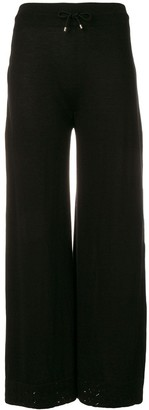 Barrie Lace Trim Wide Leg Trousers