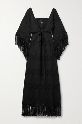 Miguelina Francesca Fringed Embroidered Cotton-blend Maxi Dress - Black