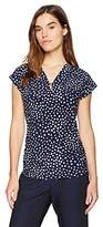 Anne Klein Women's Printed Cap Sleeve V-Neck Top