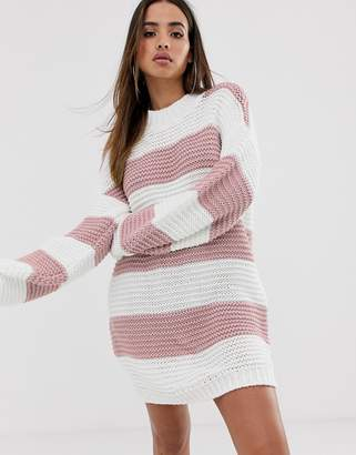In The Style Stripe Chunky Oversized Jumper Dress-Pink