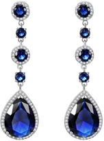 Lavencious Tear Drop Round Dangle Earrings AAA CZ Jewelry Wedding Party Prom (Silver)