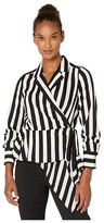 Vince Camuto Short Sleeve Bold Stripe Wrap Front Asymmetrical Peplum Hem Blouse (Rich Black) Women's Clothing