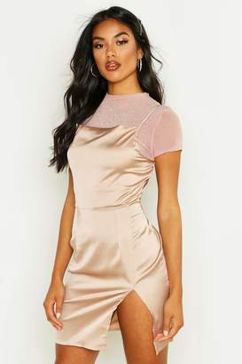 boohoo Diamante T-Shirt Satin Slip Mini Dress