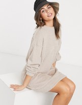 Asos Design DESIGN fluffy sweat dress in oatmeal