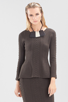 Josie Natori Textured Knit Jacquard Top