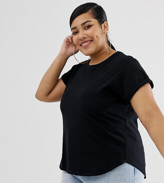 Asos DESIGN Curve t-shirt in boyfriend fit with rolled sleeve and curved hem in black