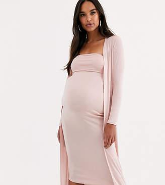 Asos DESIGN Maternity Baby Shower ruched bandeau midi dress and drape jacket set-Pink