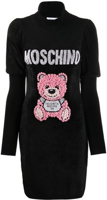 Moschino embellished Teddy motif knit dress