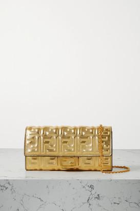 Fendi Baguette Embossed Metallic Leather Clutch - Gold