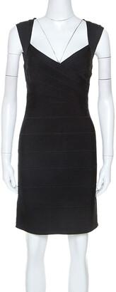 Herve Leger Black Sarai Signature Bandage Dress M