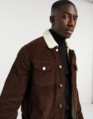 New Look trucker jacket with borg collar in brown
