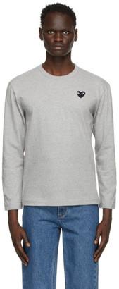 Comme des Garcons Grey Heart Long Sleeve T-Shirt