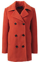Lands' End Women's Plus Size Relaxed Wool Peacoat-Orange Clay