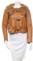 DSQUARED2 Fur-Trimmed Leather Jacket
