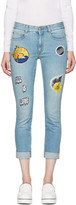 Stella McCartney Blue Surf Patch Skinny Boyfriend Jeans