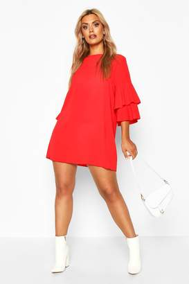 boohoo Plus Volume Sleeve Woven Shift Dress