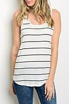 Sweet Claire White Stripe Tank
