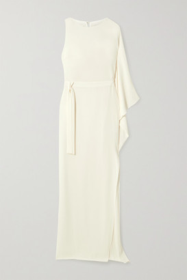 Halston One-shoulder Asymmetric Crepe Gown - Ivory