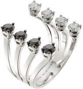 Delfina Delettrez 18kt White Gold Ring with White and Black Diamonds