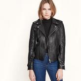 Maje Leather fringed blouson jacket