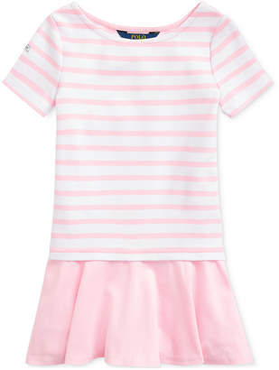 Polo Ralph Lauren Toddler Girls Striped Stretch Ponte Dress