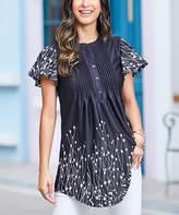 Reborn Collection Women's Tunics Black - Black & White Abstract Short Sleeve Notch Neck Pin Tuck Tunic - Women & Plus