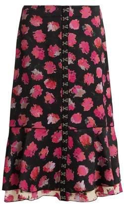 Proenza Schouler Carnation Print Fluted Midi Skirt - Womens - Black Pink
