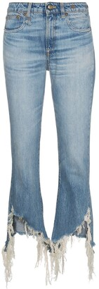 R 13 Kick Fit Distressed Hem Jeans