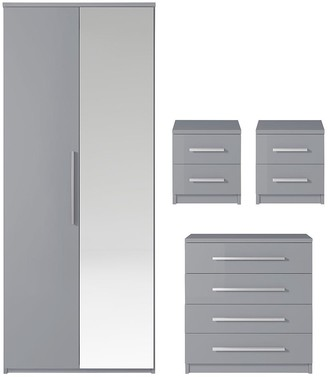 Prague Gloss 4-Piece Package - 2-Door Wardrobe, 4-Drawer Chest and 2 Bedside Cabinets