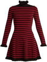 RED Valentino High-neck striped A-line dress