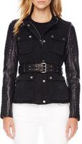 MICHAEL Michael Kors Leather-Sleeve Denim Jacket