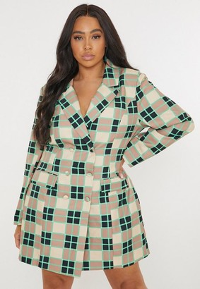 Missguided Plus Size Green Plaid Tailored Blazer Dress