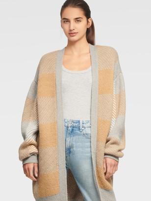 DKNY Women's Plaid Cardigan - Ivory/Camel/Frost Grey - Size XX-Small