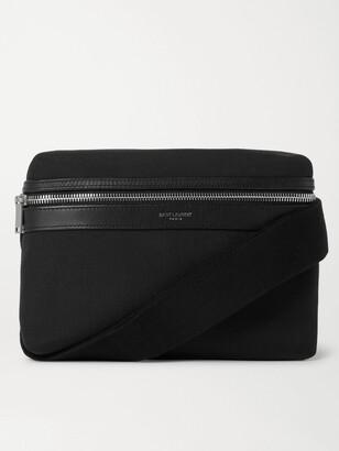 Saint Laurent Leather-Trimmed Canvas Messenger Bag