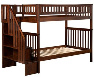 Atlantic Furniture Woodland Staircase Bunk Bed Twin over Twin in Multiple Colors and Configurations