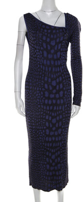 M Missoni Purple Animal Print Knit Asymmetric Sleeve Maxi Dress L