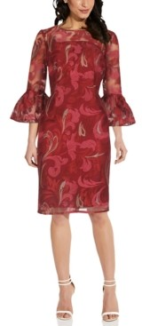 Adrianna Papell Embroidered Bell-Sleeve Sheath Dress