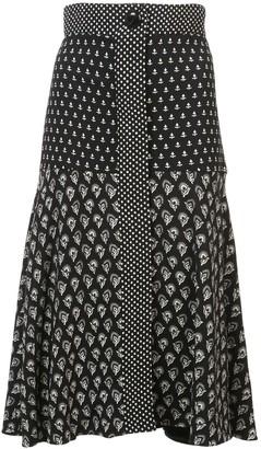 Proenza Schouler Block Print Flared Skirt