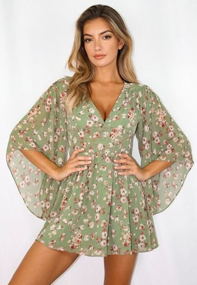 Missguided Green Floral Kimono Sleeve Mini Dress