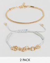 Asos Pack of 2 Mesh Chain and Cord Bracelet