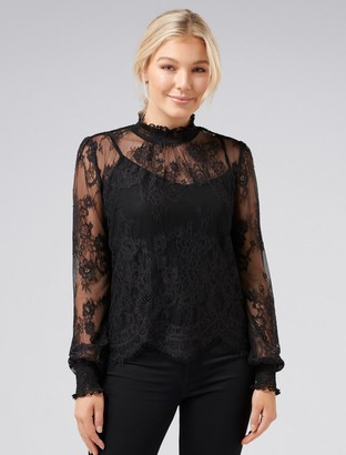 Forever New Azura Petite Lace Shirred Neck Top - Black - xxs