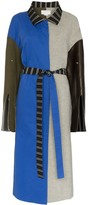 Esteban Cortazar patchwork wool trench coat