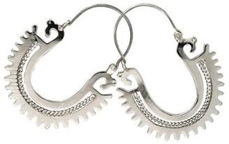 Novica Artisan Crafted Sterling Plumed SerpentHoop Earrings