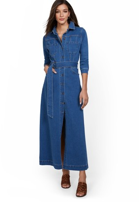 New York & Co. Denim Maxi Shirtdress